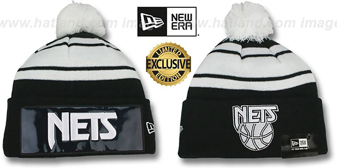 Nets 'BIG-SCREEN' Black-White Knit Beanie Hat by New Era : pictured without stickers that these products are shipped with