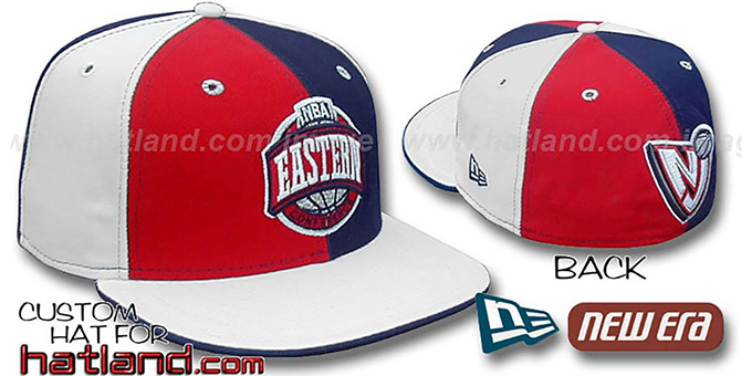 Nets CONFERENCE 'PINWHEEL' Red-Navy-White Fitted Hat : pictured without stickers that these products are shipped with