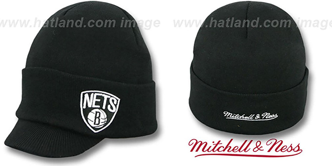 Nets 'CUFFED-VISOR KNIT BEANIE' Black Hat by Mitchell and Ness : pictured without stickers that these products are shipped with