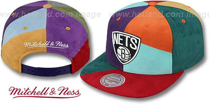 Nets 'CUT-N-SEW PATCHES SNAPBACK' Multi Hat by Mitchell and Ness : pictured without stickers that these products are shipped with
