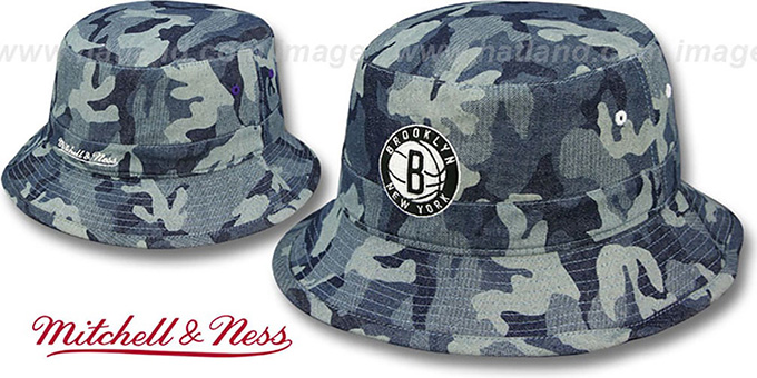 Nets 'DENIM-CAMO BUCKET' Blue Hat by Mitchell and Ness : pictured without stickers that these products are shipped with