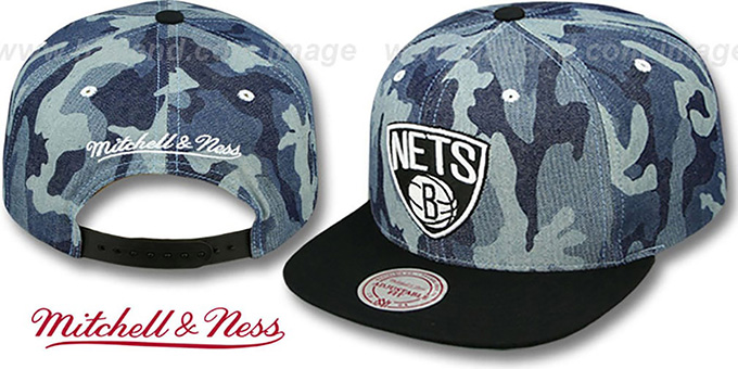Nets 'DENIM-CAMO SNAPBACK' Blue Hat by Mitchell and Ness : pictured without stickers that these products are shipped with