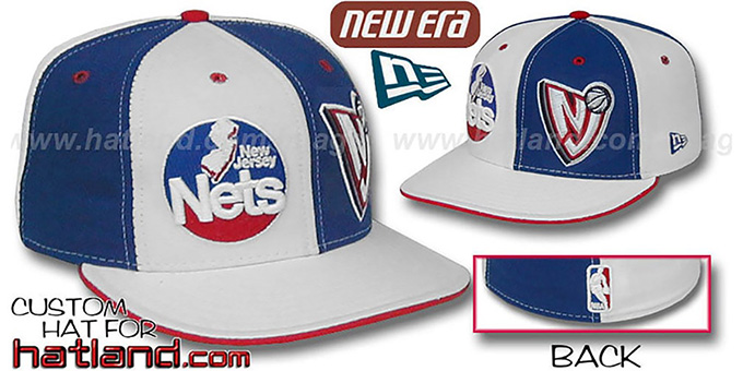 Nets DW 'THEN and NOW' White-Royal Fitted Hat : pictured without stickers that these products are shipped with