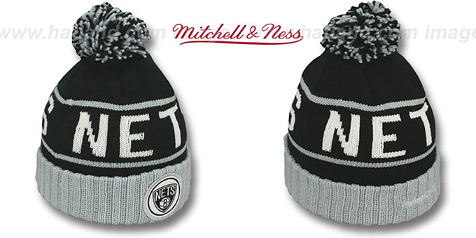 Nets 'HIGH-5 CIRCLE BEANIE' Black-Grey by Mitchell and Ness : pictured without stickers that these products are shipped with