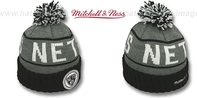 Nets 'HIGH-5 CIRCLE BEANIE' Grey-Black by Mitchell and Ness : pictured without stickers that these products are shipped with
