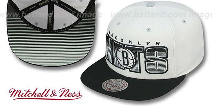 Nets 'HOMESTAND SNAPBACK' White-Black Hat by Mitchell & Ness : pictured without stickers that these products are shipped with