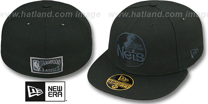 Nets 'HWC FADEOUT-BASIC' Black Fitted Hat by New Era : pictured without stickers that these products are shipped with