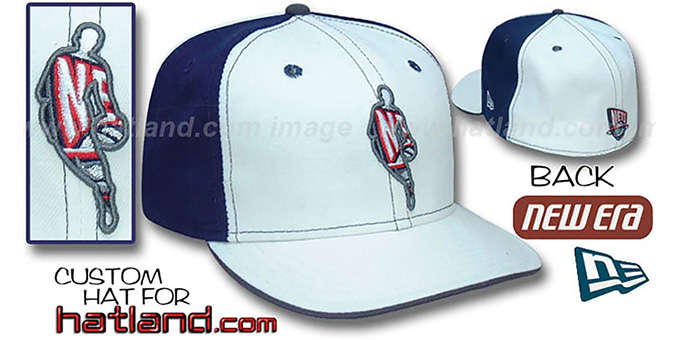 Nets 'INSIDER PINWHEEL' White-Navy Fitted Hat by New Era : pictured without stickers that these products are shipped with