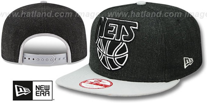 Nets 'LOGO GRAND SNAPBACK' Charcoal-Grey Hat by New Era : pictured without stickers that these products are shipped with