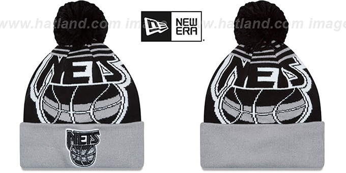 Nets 'LOGO WHIZ' Black-Grey Knit Beanie Hat by New Era : pictured without stickers that these products are shipped with