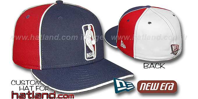 Nets 'LOGOMAN-2' Navy-Red-White Fitted Hat by New Era : pictured without stickers that these products are shipped with