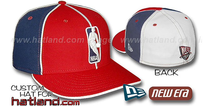 Nets 'LOGOMAN-3' Red-Navy-White Fitted Hat by New Era : pictured without stickers that these products are shipped with