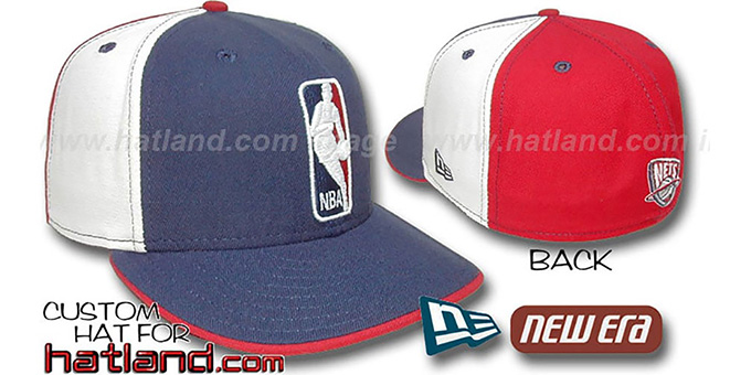 Nets 'LOGOMAN' Navy-White-Red Fitted Hat by New Era : pictured without stickers that these products are shipped with