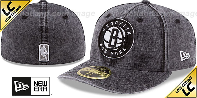 Nets 'LOW-CROWN FADED' Black Fitted Hat by New Era : pictured without stickers that these products are shipped with
