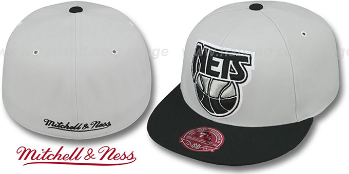 Nets 'MONOCHROME XL-LOGO' Grey-Black Fitted Hat by Mitchell & Ness : pictured without stickers that these products are shipped with