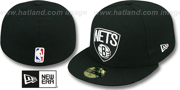 Nets 'NBA-CHASE SHIELD' Black Fitted Hat by New Era : pictured without stickers that these products are shipped with