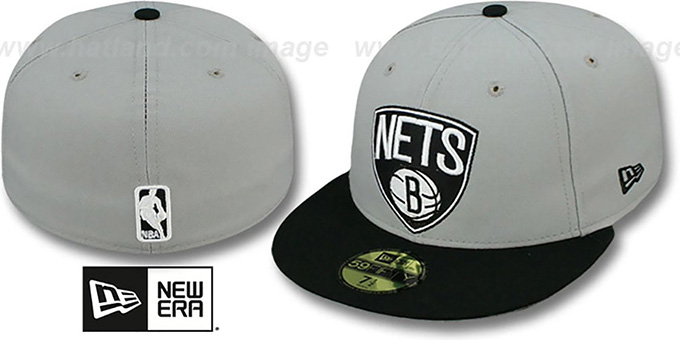 Nets 'NBA-CHASE SHIELD' Grey-Black Fitted Hat by New Era : pictured without stickers that these products are shipped with