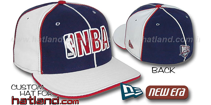 Nets NBA 'PINWHEEL-3' Navy-White Fitted Hat by New Era : pictured without stickers that these products are shipped with