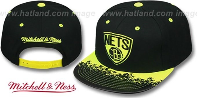 Nets 'NEON-LAVA SNAPBACK' Black-Yellow Hat by Mitchell and Ness : pictured without stickers that these products are shipped with
