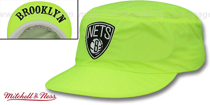 Nets 'NEON PAINTER' Yellow Hat by Mitchell and Ness : pictured without stickers that these products are shipped with