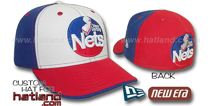 Nets 'OLD SCHOOL PINWHEEL' White-Royal-Red Fitted Hat : pictured without stickers that these products are shipped with
