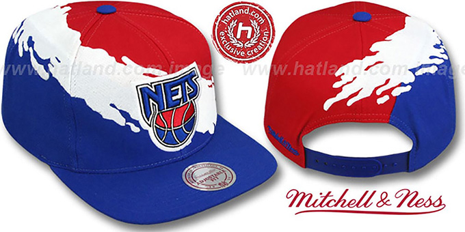 Nets 'PAINTBRUSH SNAPBACK' Red-White-Royal Hat by Mitchell & Ness : pictured without stickers that these products are shipped with