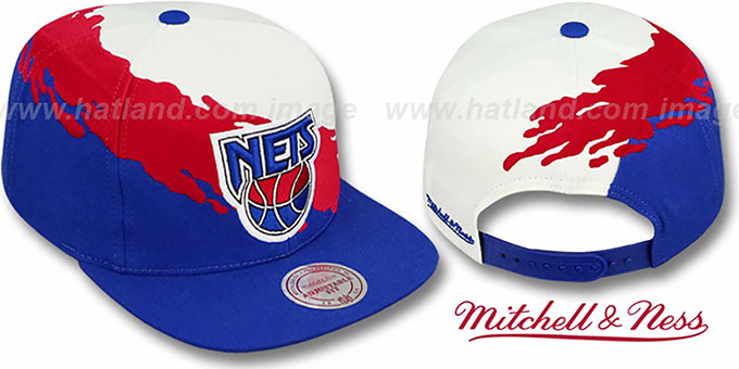 Nets 'PAINTBRUSH SNAPBACK' White-Red-Royal Hat by Mitchell & Ness : pictured without stickers that these products are shipped with