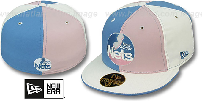 Nets 'PINWHEEL' Columbia-Pink-White Fitted Hat by New Era : pictured without stickers that these products are shipped with