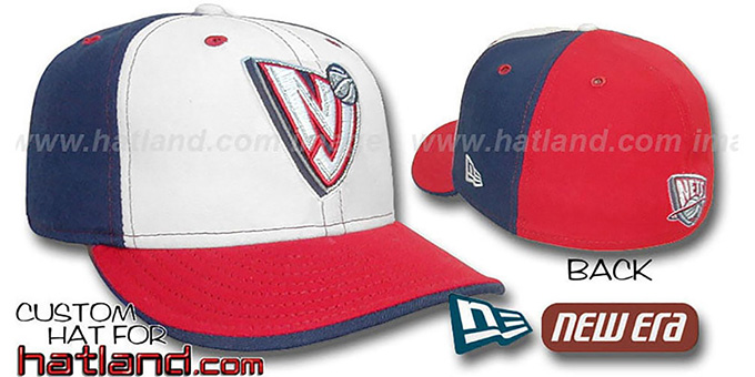 Nets 'PINWHEEL' White-Navy-Red Fitted Hat by New Era : pictured without stickers that these products are shipped with