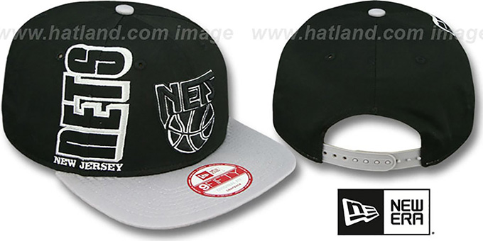 Nets 'RALLYMARK SNAPBACK' Black-Grey Hat by New Era : pictured without stickers that these products are shipped with