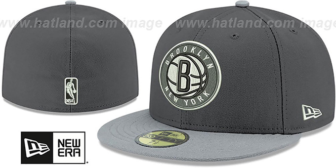 Nets 'SHADER MELT-2' Grey-Grey Fitted Hat by New Era : pictured without stickers that these products are shipped with