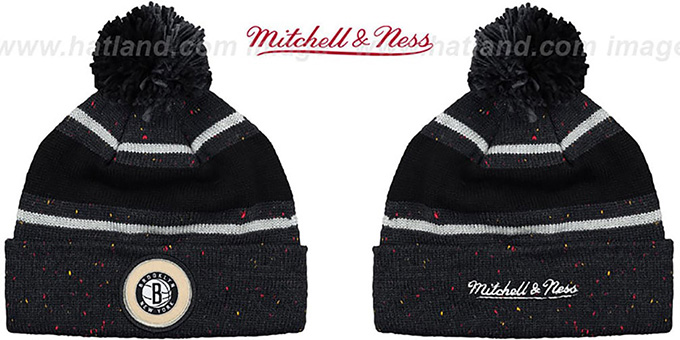 Nets 'SPECKLED' Black-Charcoal Knit Beanie by Mitchell and Ness : pictured without stickers that these products are shipped with