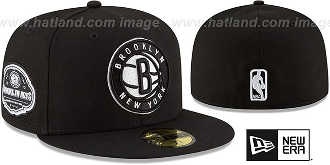 Nets 'TEAM-SUPERB' Black Fitted Hat by New Era : pictured without stickers that these products are shipped with
