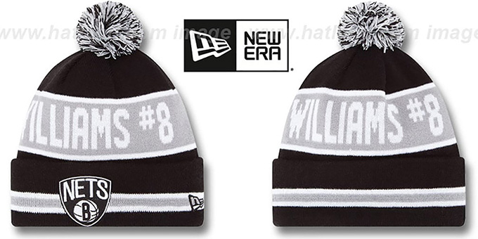 Nets 'THE-COACH WILLIAMS 8' Black Knit Beanie Hat by New Era : pictured without stickers that these products are shipped with