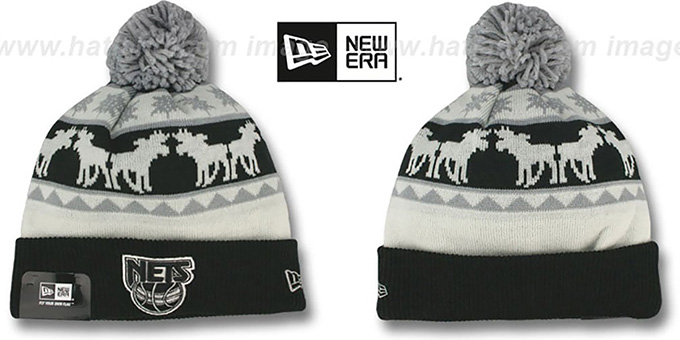 Nets 'THE-MOOSER' Knit Beanie Hat by New Era : pictured without stickers that these products are shipped with