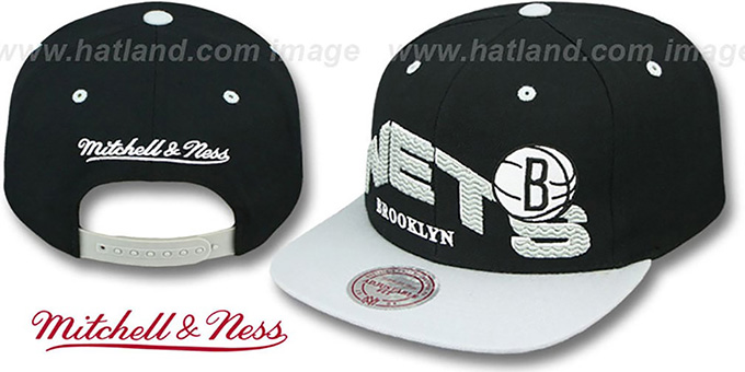 Nets 'THE-WAVE SNAPBACK' Black-Grey Hat by Mitchell and Ness : pictured without stickers that these products are shipped with