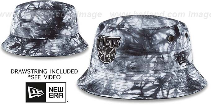 Nets 'TYE-DYE ZONE' Bucket Hat by New Era : pictured without stickers that these products are shipped with