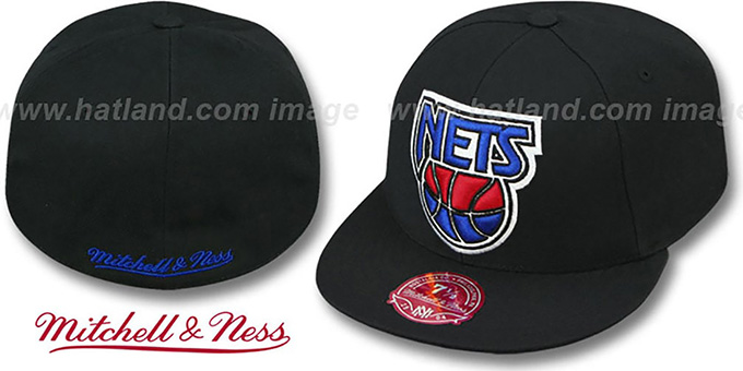 Nets 'XL-LOGO BASIC' Black Fitted Hat by Mitchell & Ness : pictured without stickers that these products are shipped with