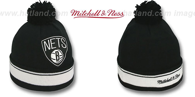 Nets 'XL-LOGO BEANIE' Black by Mitchell and Ness : pictured without stickers that these products are shipped with