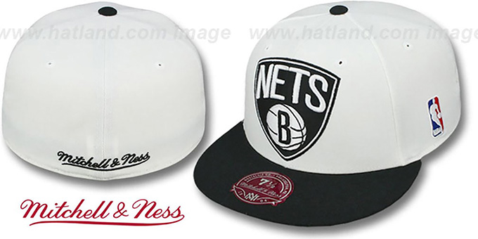 Nets 'XL-LOGO' White-Black Fitted Hat by Mitchell & Ness : pictured without stickers that these products are shipped with