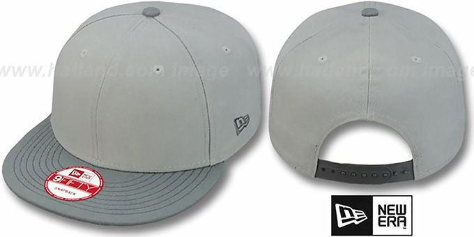 New Era ' 2T BLANK SNAPBACK' Grey-Grey Adjustable Hat : pictured without stickers that these products are shipped with
