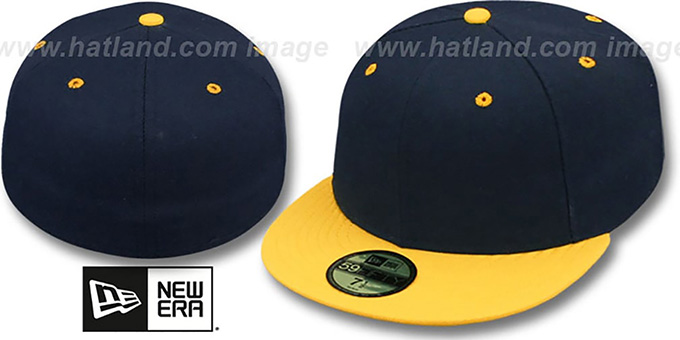 New Era '2T 59FIFTY-BLANK 2' Dark Navy-Gold Fitted Hat : pictured without stickers that these products are shipped with