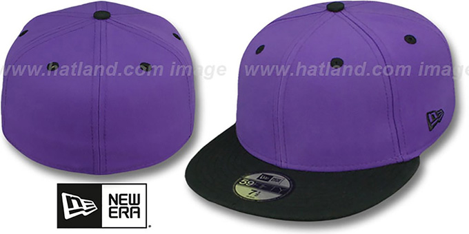 New Era '2T 59FIFTY-BLANK 2' Purple-Black Fitted Hat : pictured without stickers that these products are shipped with