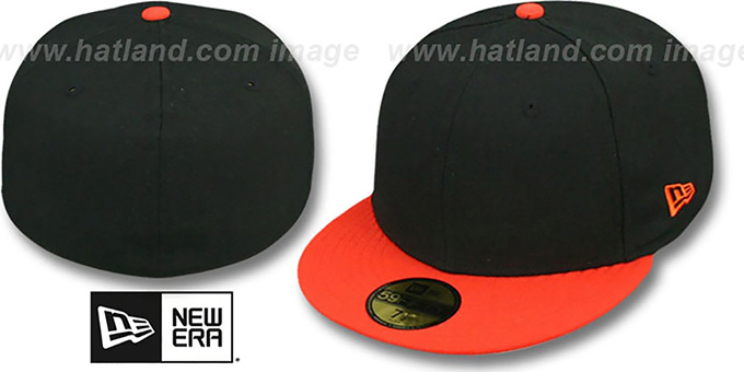 New Era '2T 59FIFTY-BLANK' Black-Orange Fitted Hat : pictured without stickers that these products are shipped with
