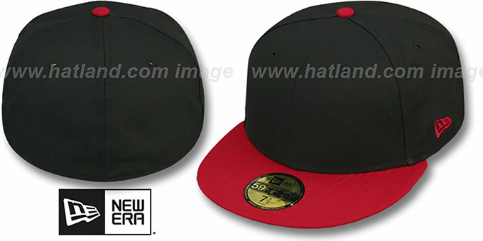 New Era 2t 59fifty Blank Black Red Fitted Hat At Hatland Com