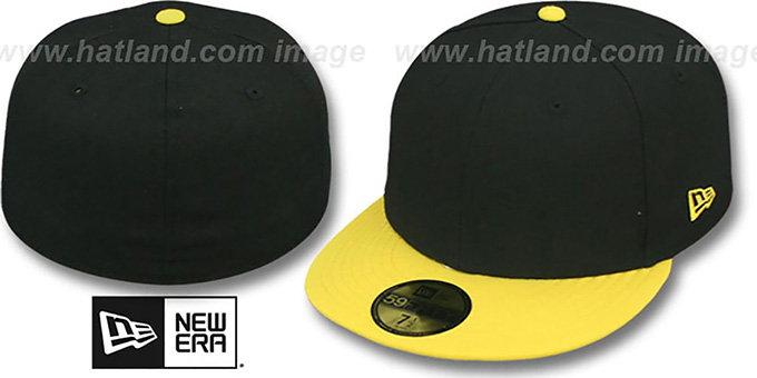 New Era 2t 59fifty Blank Black Yellow Fitted Hat At