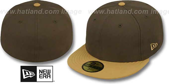 New Era '2T 59FIFTY-BLANK' Brown-Wheat Fitted Hat : pictured without stickers that these products are shipped with