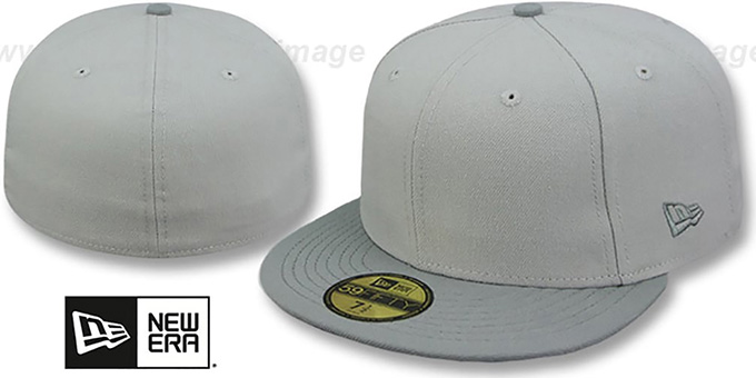 New Era '2T 59FIFTY-BLANK' Grey-Grey Fitted Hat : pictured without stickers that these products are shipped with