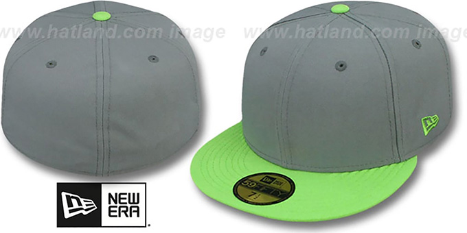 New Era '2T 59FIFTY-BLANK' Grey-Lime Fitted Hat : pictured without stickers that these products are shipped with