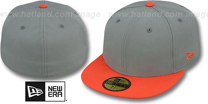 New Era '2T 59FIFTY-BLANK' Grey-Orange Fitted Hat : pictured without stickers that these products are shipped with